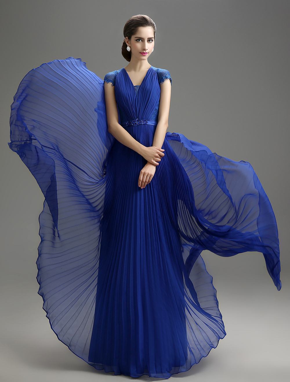 Buy Royal Blue V-Neck Chiffon Mother of the Bride Dress for $159.99 in Milanoo store