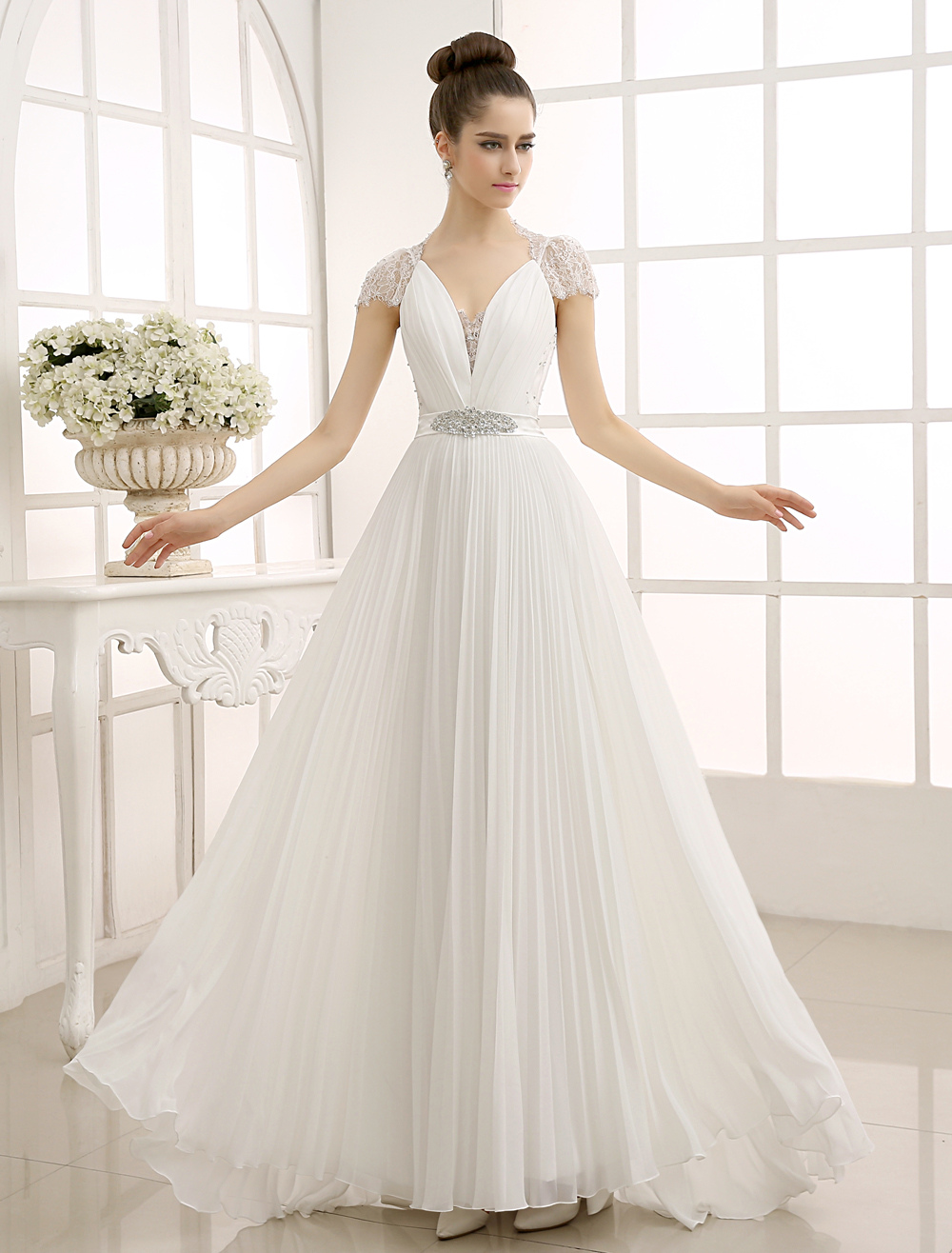 Ivory Strapless Beaded Wedding Dress with Lace