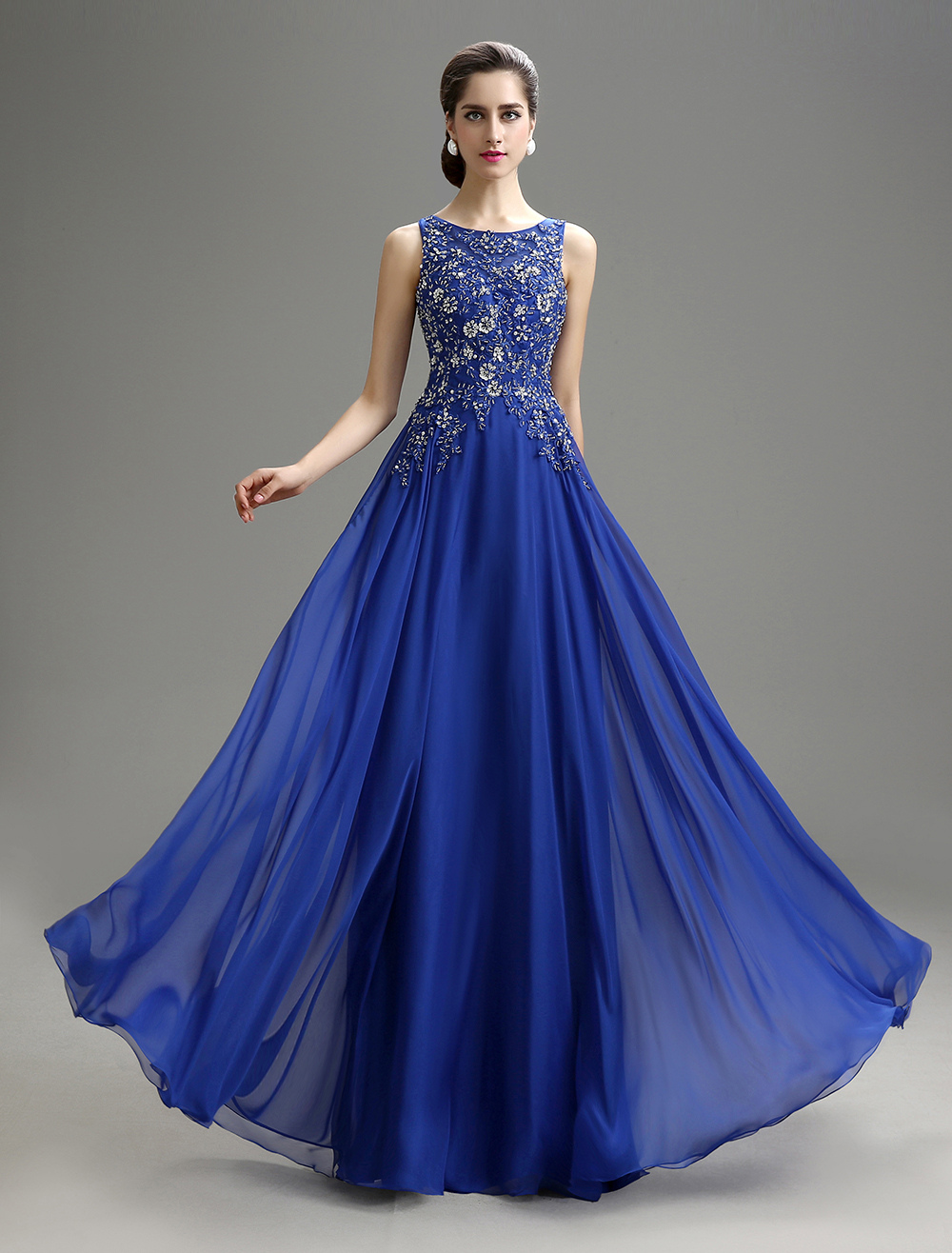 Royal Blue Applique Beaded Chiffon Dress For Mother of the Bride