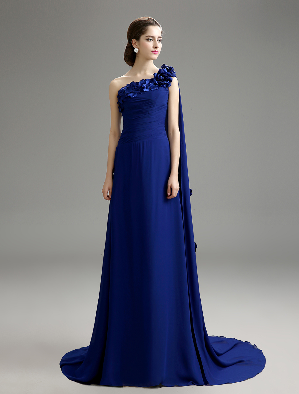 Buy Royal Blue Floral One-Shoulder Chiffon Dress For Mother of the Bride for $159.99 in Milanoo store