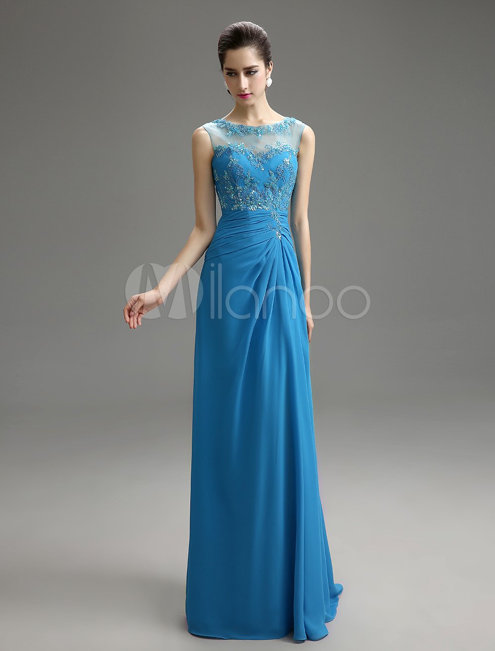 Chiffon Mother Of Bride Dress Teal Backless Illusion Neck Sleeveless Floor Length Wedding Party Dress