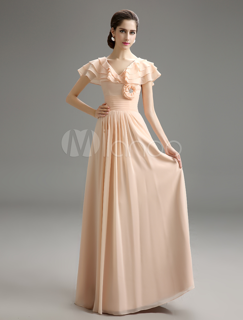 Buy Champagne V-Neck Tiered Chiffon Evening Dress for $113.99 in Milanoo store