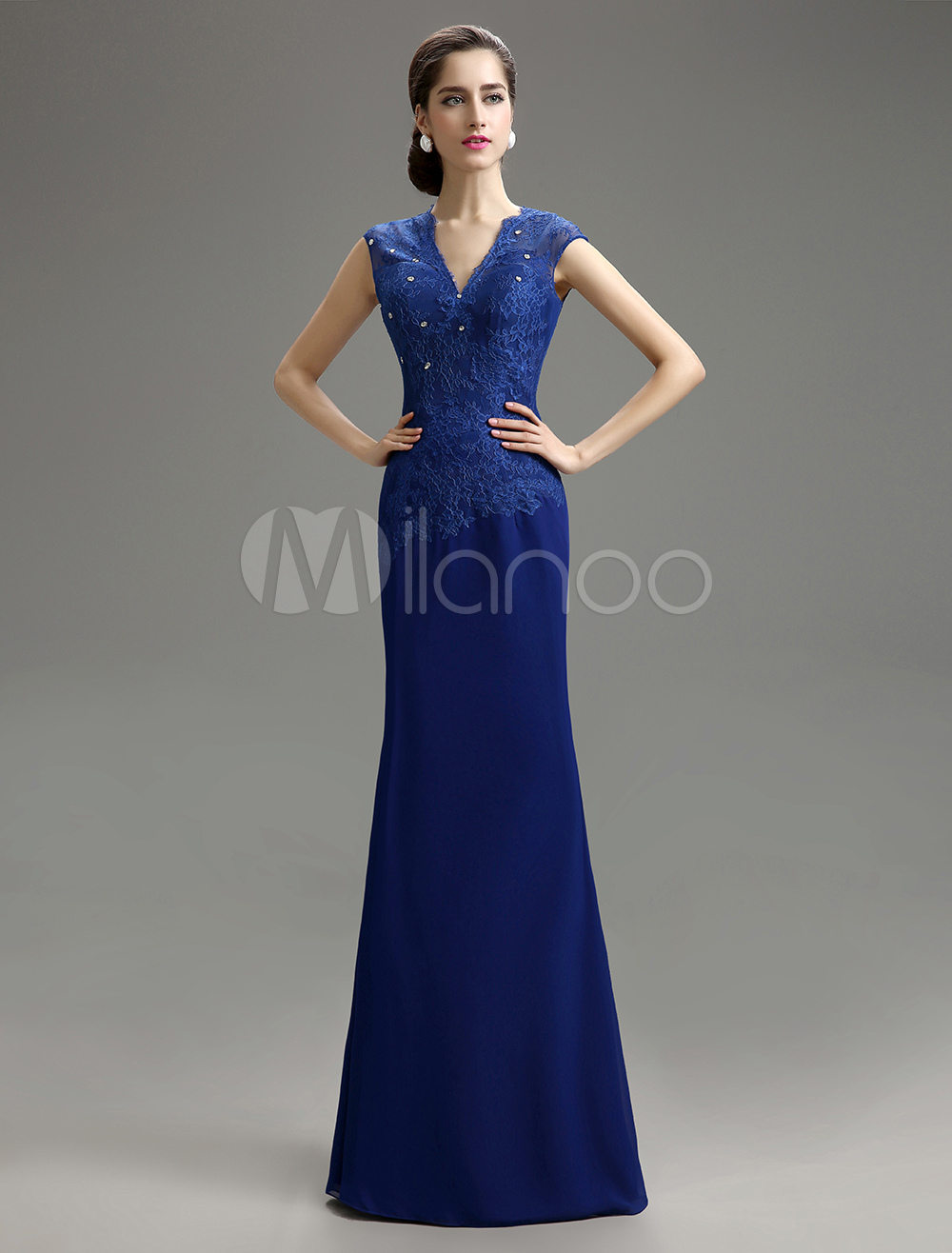 Royal Blue Mermaid V-Neck Lace Chiffon Mother of the Bride Dress