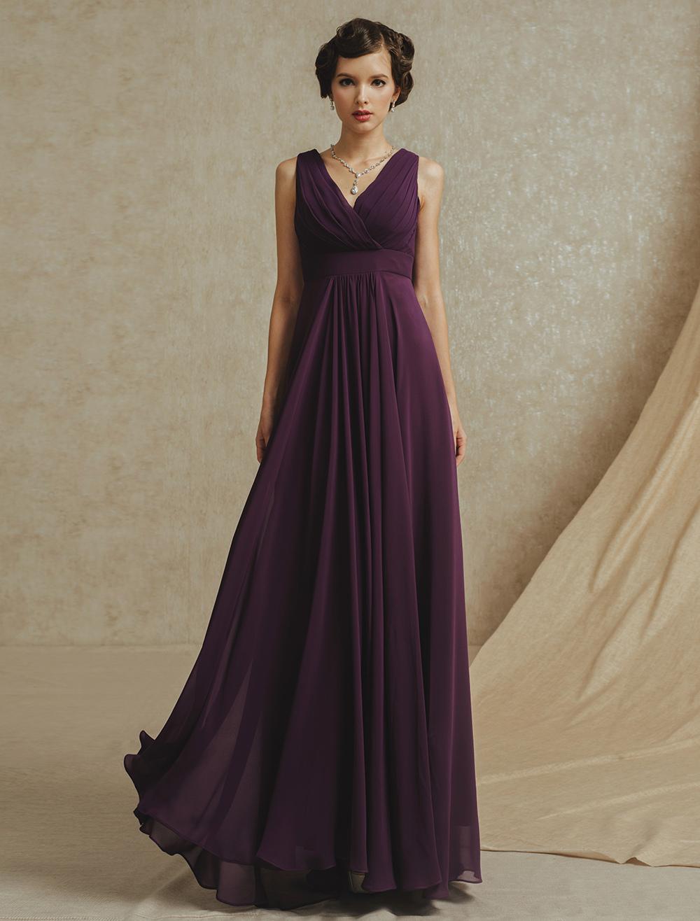 79c72fab4605 ... Deep Purple Pleated Chiffon Bridesmaid Dress with V-Neck-No.8. 12.  35%OFF. Color:Plum