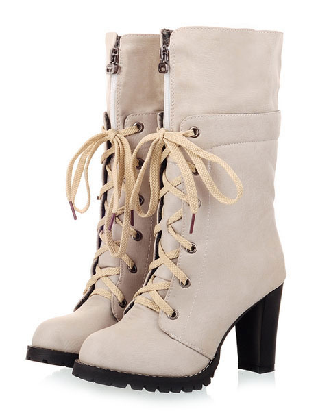 Round Toe Chunky Heel Lace Up Mid Calf Boots