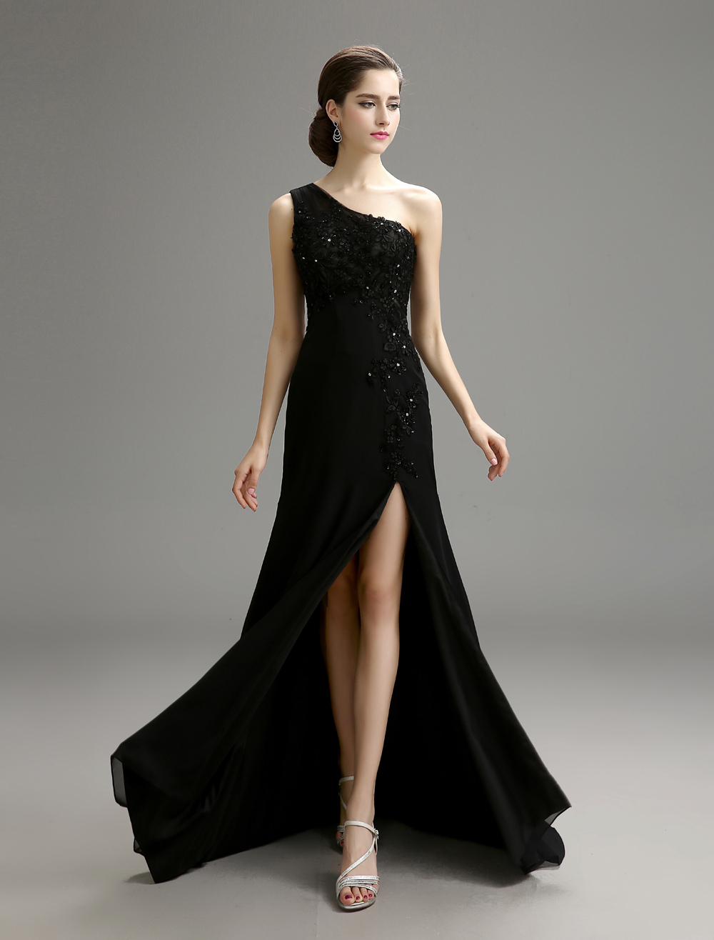 Black Wedding Dress One-Shoulder Chiffon Dress with High Slit Detail