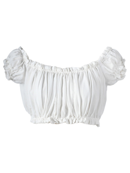 White Bateau Neck Pleated Tube Cheap clothes, free shipping worldwide