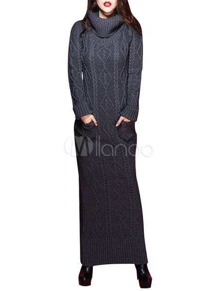 Long Sleeve Turtleneck Long Knitted Dress