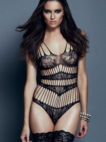 Buy Black Cut Out Semi-Sheer Teddy for $8.79 in Milanoo store