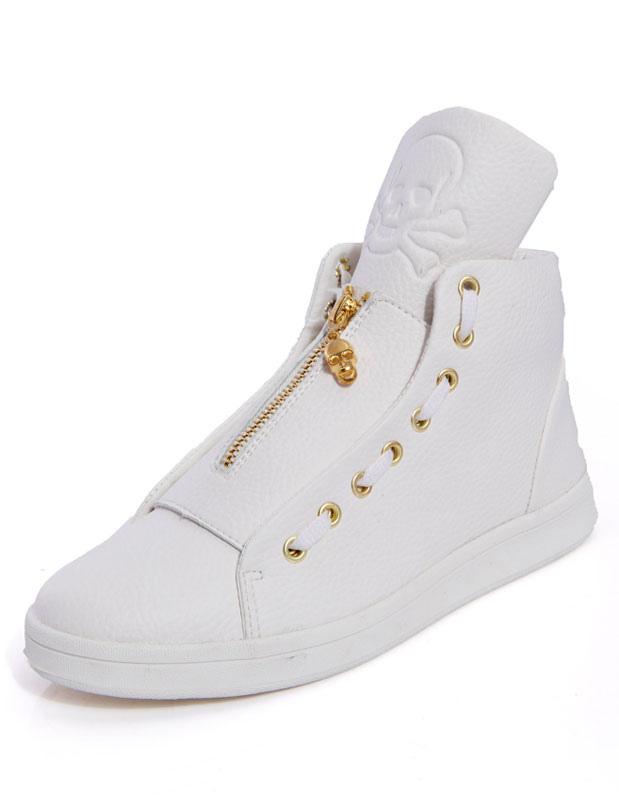 Chaussures à bout rond en PU frangé à lacet avec zip -No.1 ...