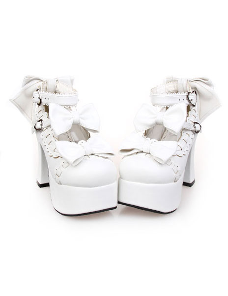 Matte White Lolita Chunky Heels Shoes Platform Shoes Ankle Straps Bows Decor Buckles