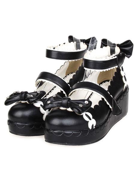 Sweet Lolita Shoes Platform Ankle Strap Bows Decor White Trim