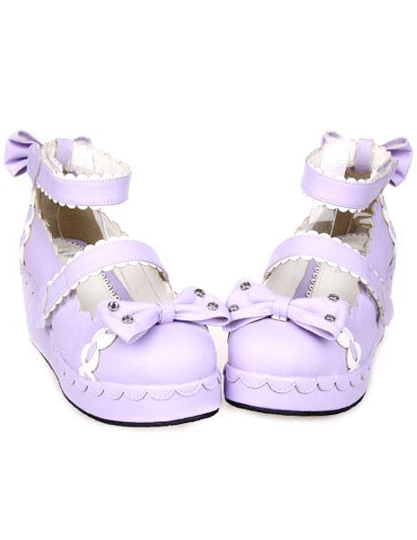 Zapatos Lolita Dulce Tirantes de Tobillo Lazos Blanco Trim B7rJWs