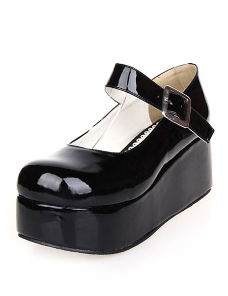 Sweet Glossy Lolita High Platform Shoes Ankle Strap Buckle Round Toe