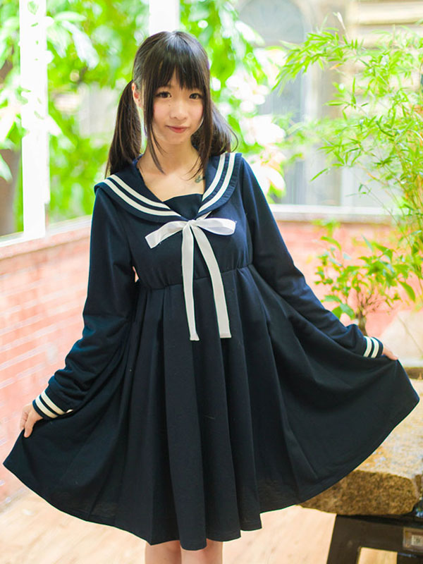 Lolita Sailor One Peice Dress Long Sleeve Spring Summer Dress