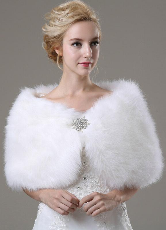 Faux Fur Wedding Shawl with Rhinestones Decor