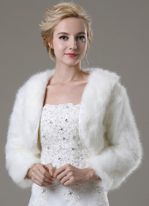 Long Sleeve Faux Fur Shawl For Bride