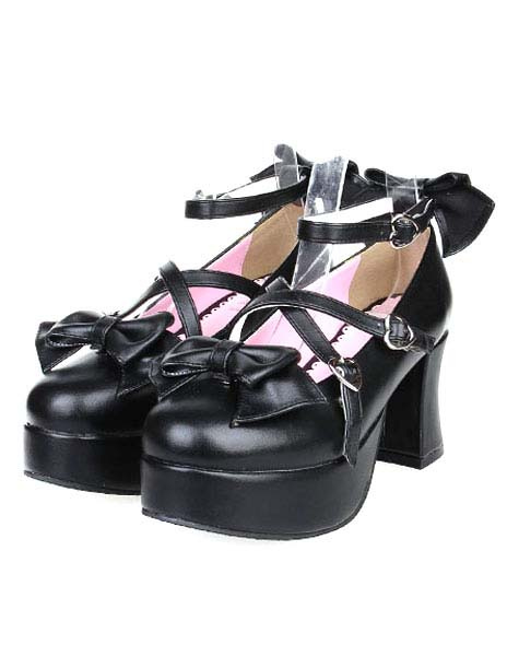 Buy Matte Black Lolita Heels Shoes Platform Shoes Ankle Strap Buckles Bows for $58.99 in Milanoo store