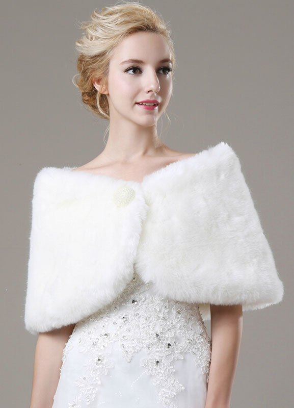 Beaded Faux Fur Bridal Shawl
