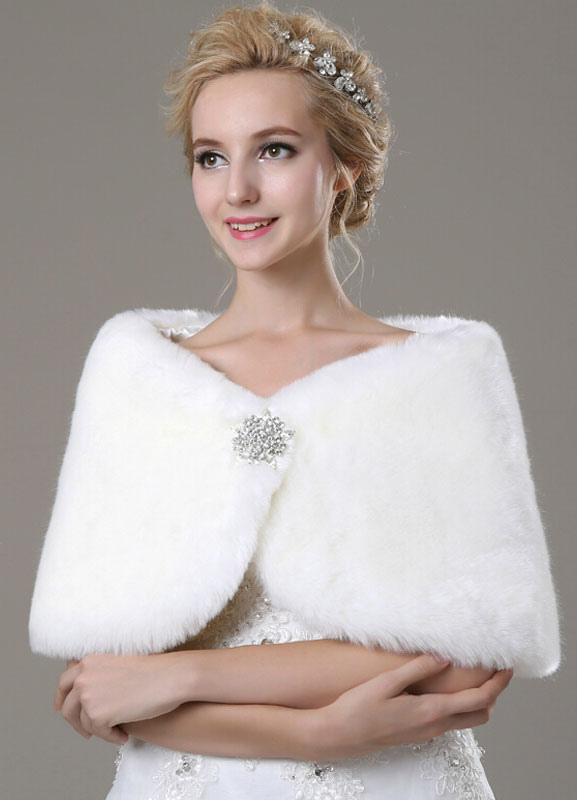 Faux Fur Bridal Shawl with Rhinestones Decor