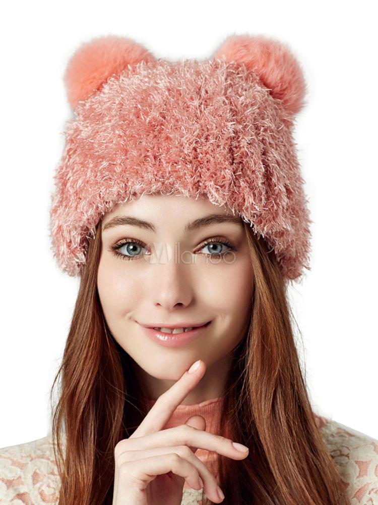 7cbefefe7184c Gorro de color liso con orejas de gato - Milanoo.com
