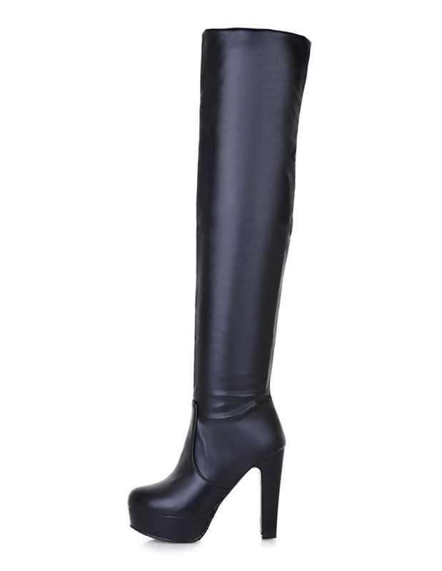 Thigh High Boots Black Platform Over The Knee Boots