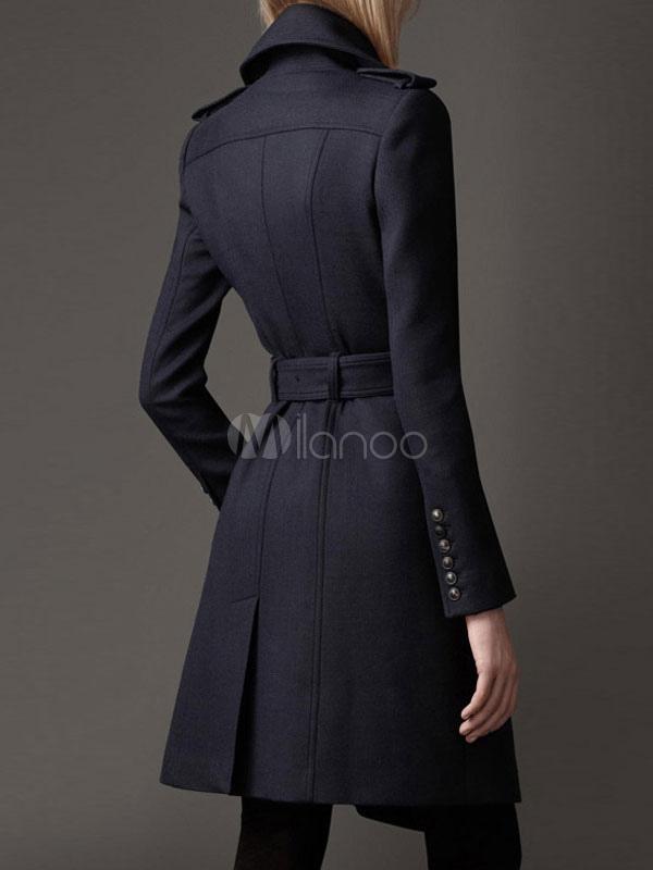 buy online a6761 51b26 Nero con revers lana lungo cappotto svasato