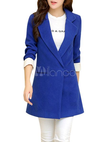 1b90bb6ff661 Manteau femme en tweed bleu royal unicolore moulant - Milanoo.com