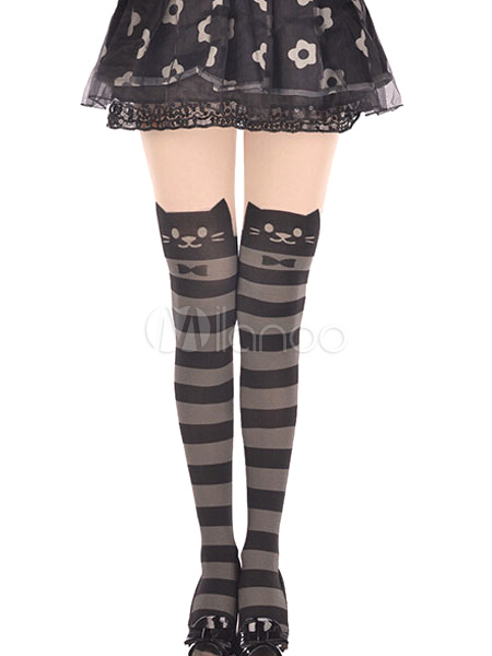 Striped Cat Pattern Tights Cheap clothes, free shipping worldwide