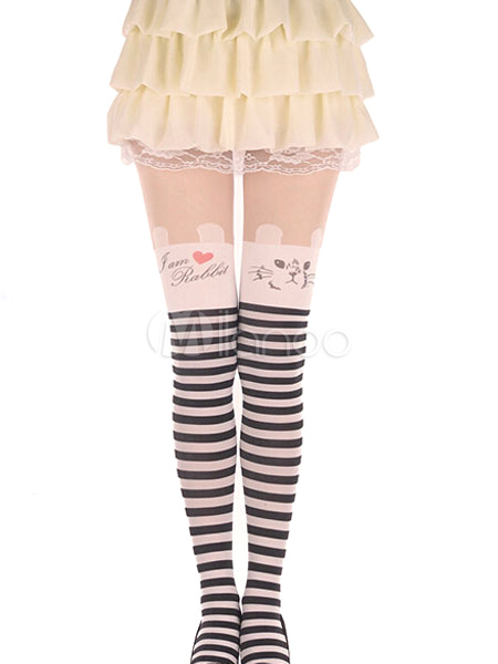 Buy Cat Pattern Striped Tights for $8.99 in Milanoo store