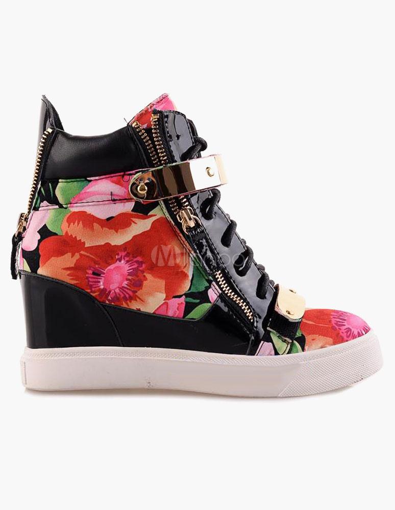 ... Sneakers en peau de vache multicolore imprimés fleuris -No.2 ...