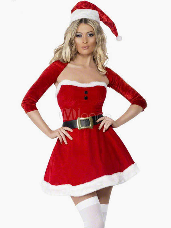 Sexy Christmas Santa Clause Costume Red Slim Fit Skater