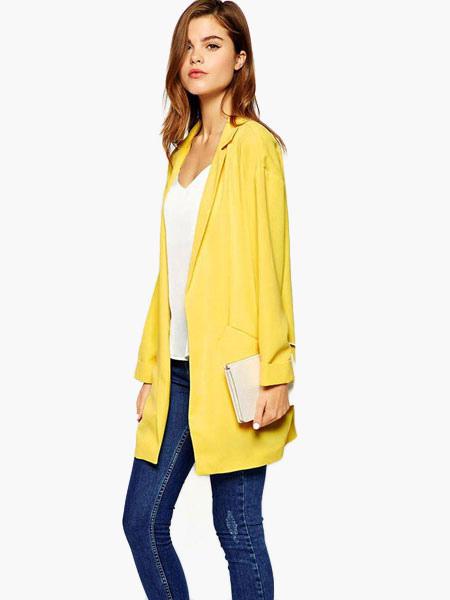 new high hot product retail prices Blazer féminin long jaune en coton mélangé unicolore