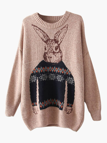 Rabbit Print Pullover Sweater Cheap clothes, free shipping worldwide