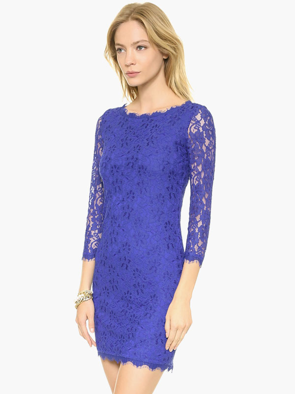 Red Lace Dress Women Bodycon Dress Three Quarter Sleeve Short Party ...