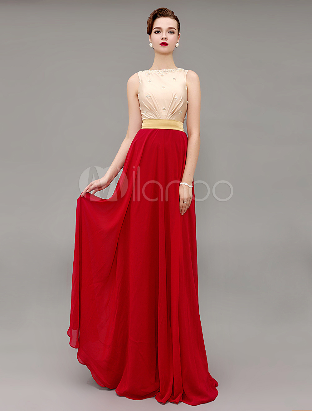 Red Prom Dresses 2018 Long Evening Dress Two Tone Bateau Beading Sash Party Dress