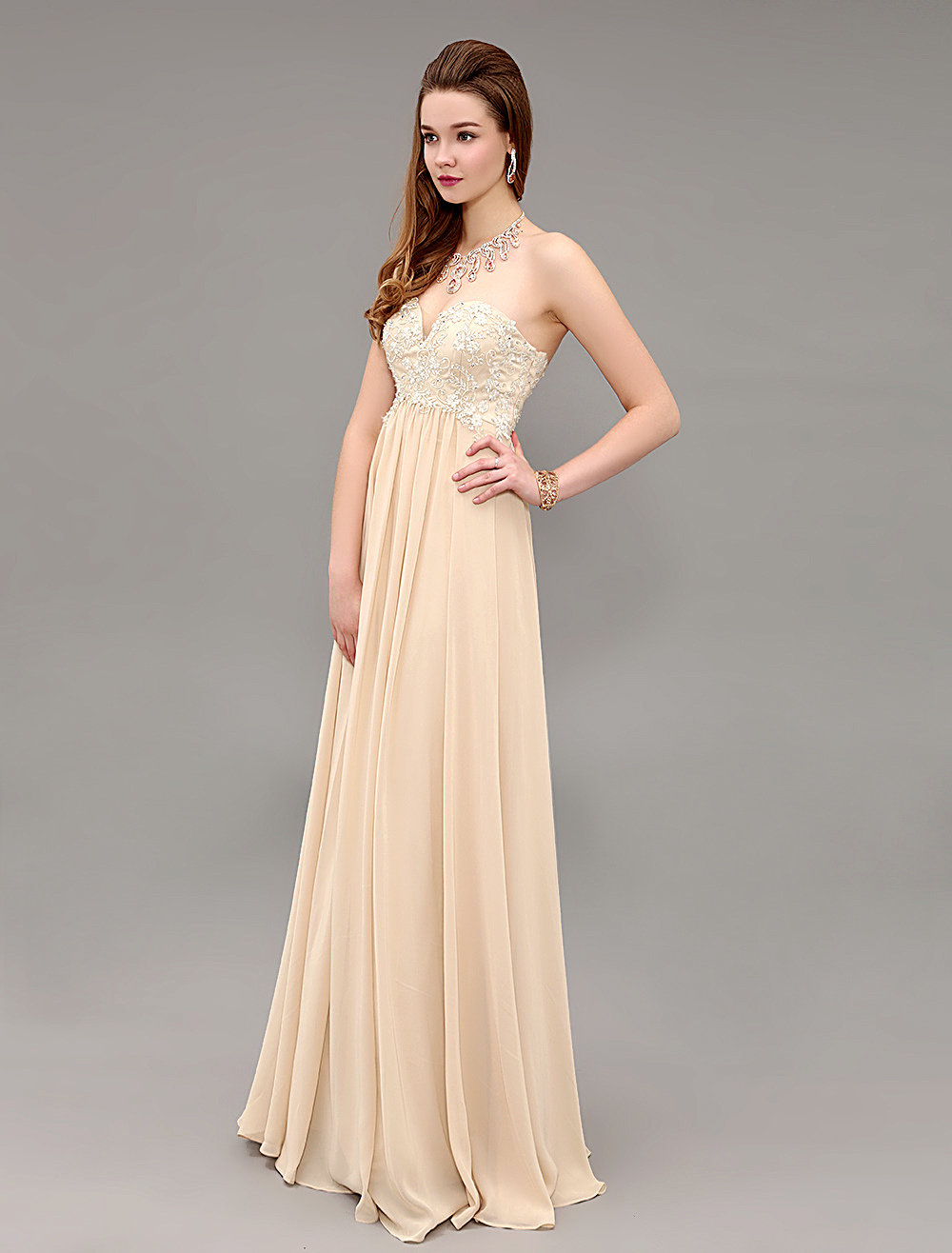 Champagne Chiffon Floor Length Evening Dress With Applique Bodice