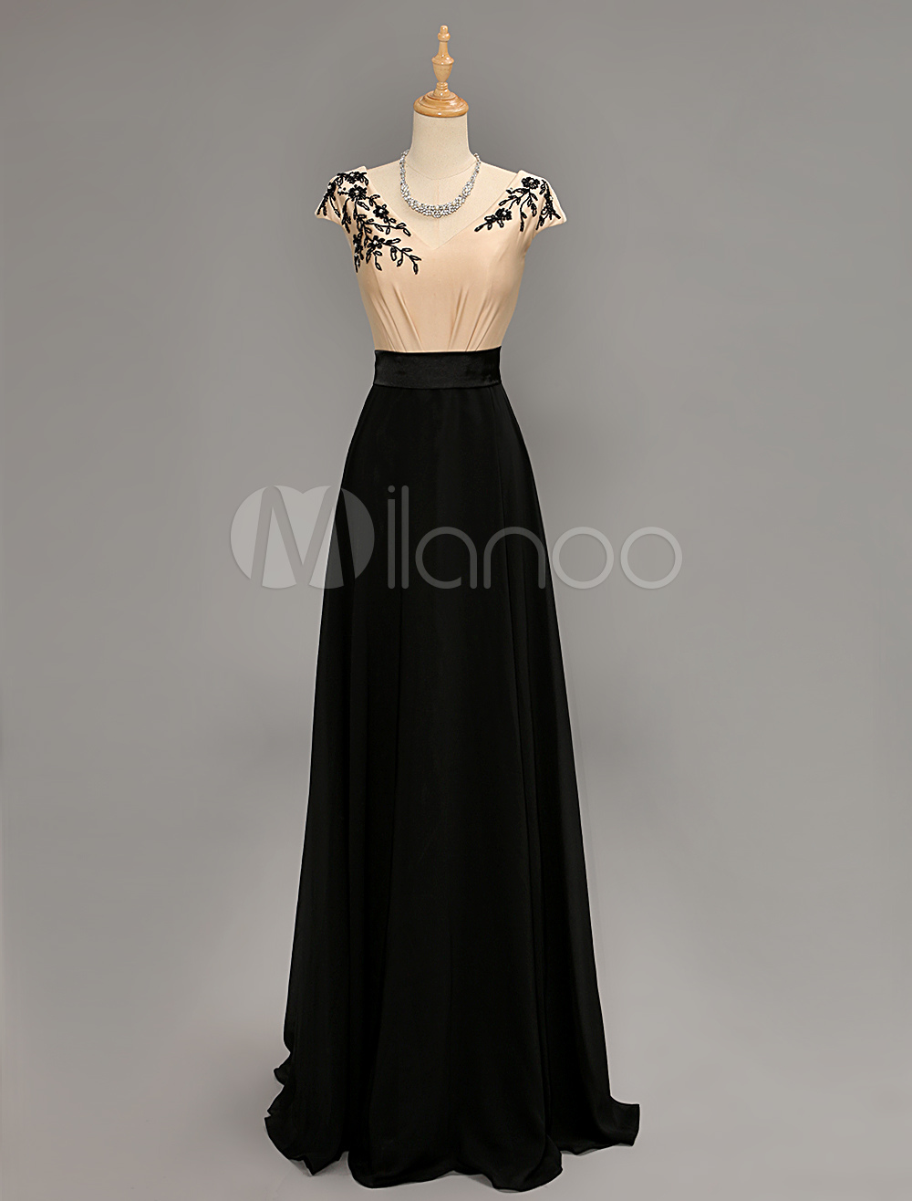 Floor Length V-neck Lace Beading Evening Dress
