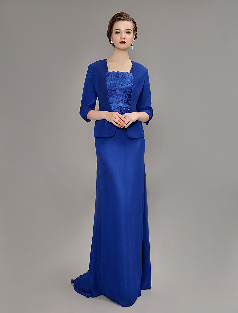 Royal Blue Chiffon Lace Mother Of Bride Dress With Train and Jacket