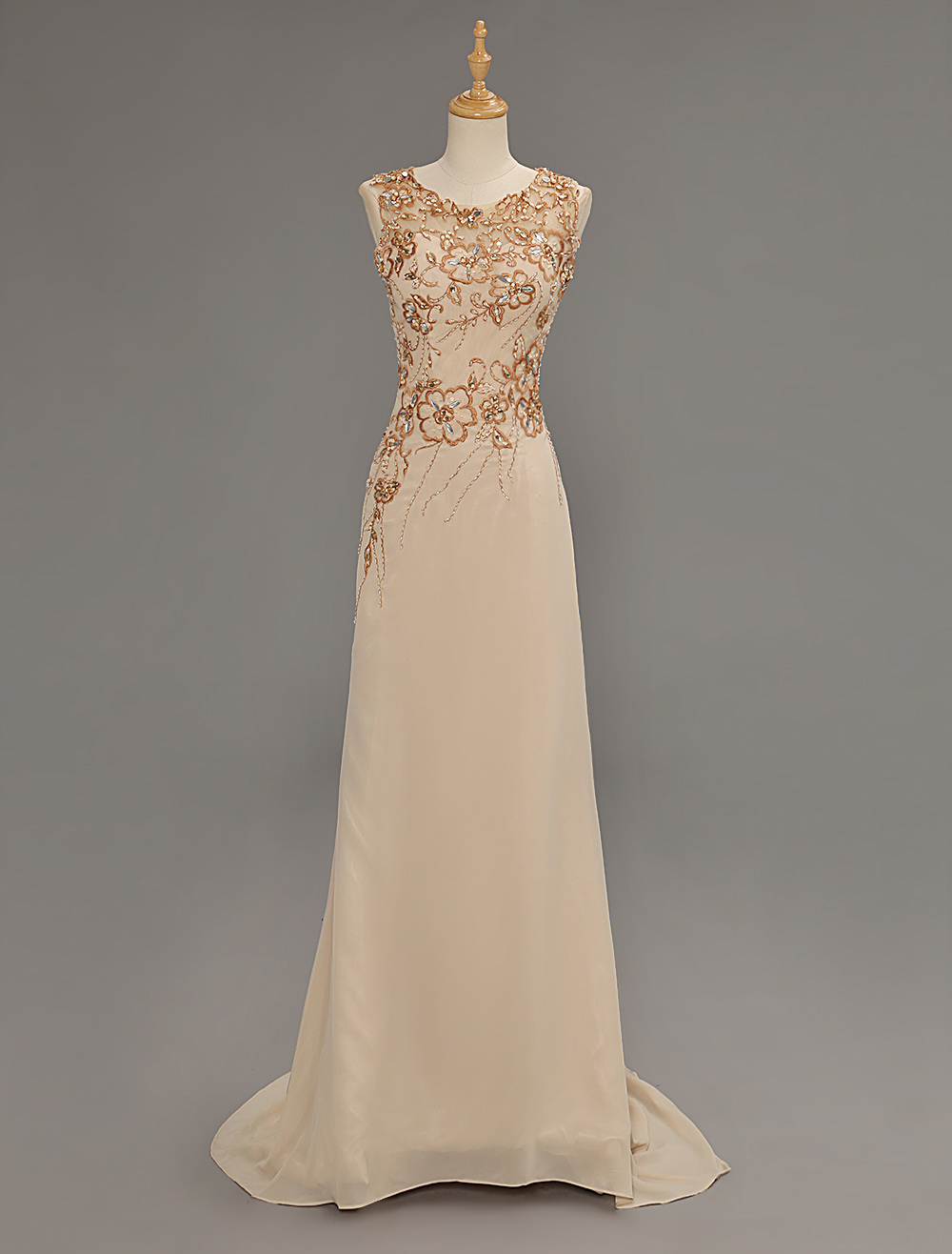 Champange Chiffon Embroidered Mother Of Bride Dress With Illusion Neck