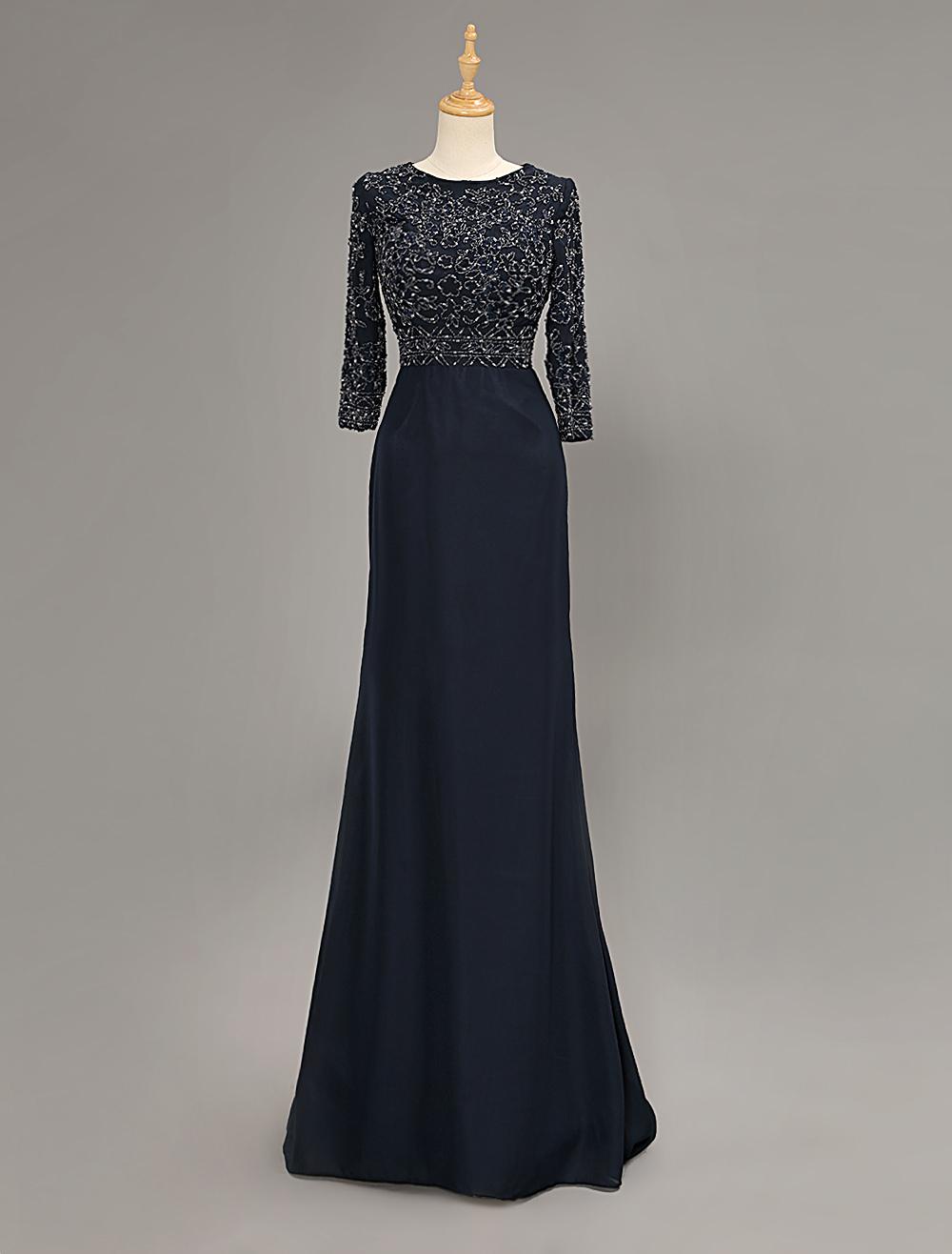 Dark Navy Half Sleeve Mother Of Bride Dress With Beading Decor