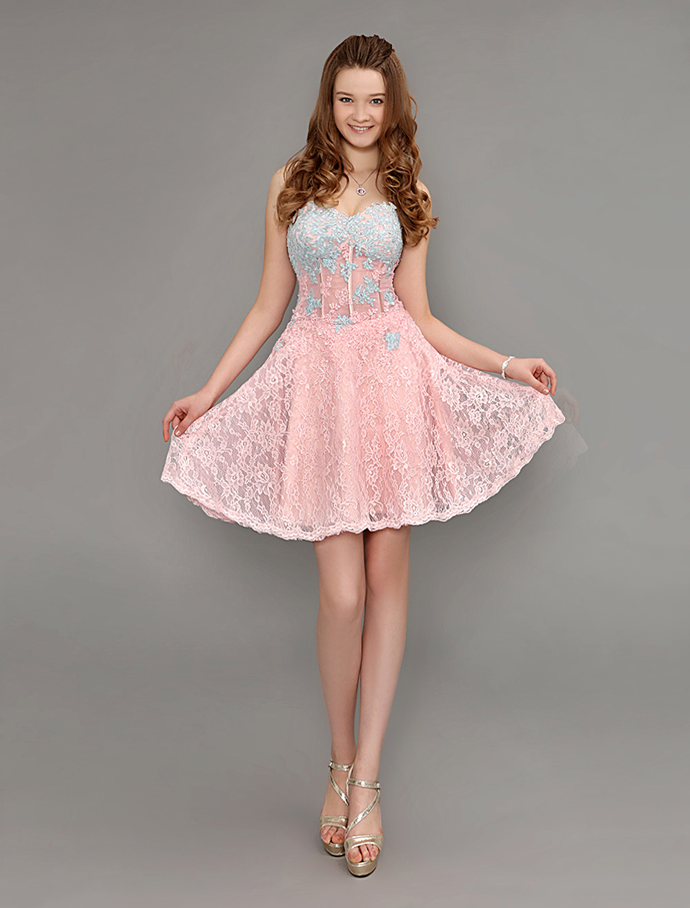 Lace Cocktail Dress Peach Sweetheart Short Homecoming Dress With Sheer Waist