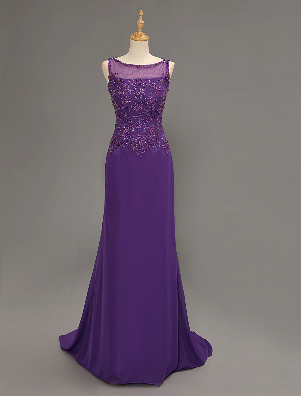 Royal Purple Illusion Jewel Neck Mother Of Bride Dress With Embroidery