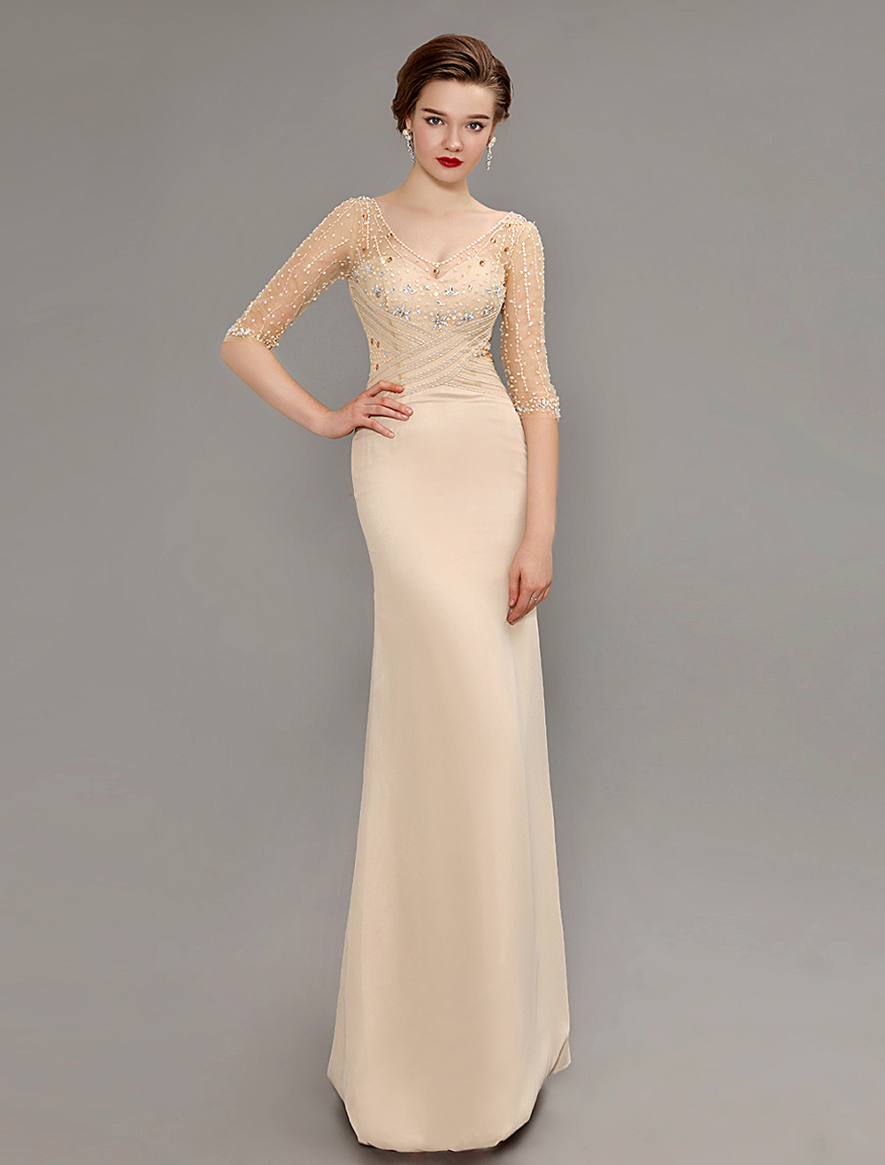Champange Sequined Sheer Sleeve Mother Of Bride Dress With Open Back