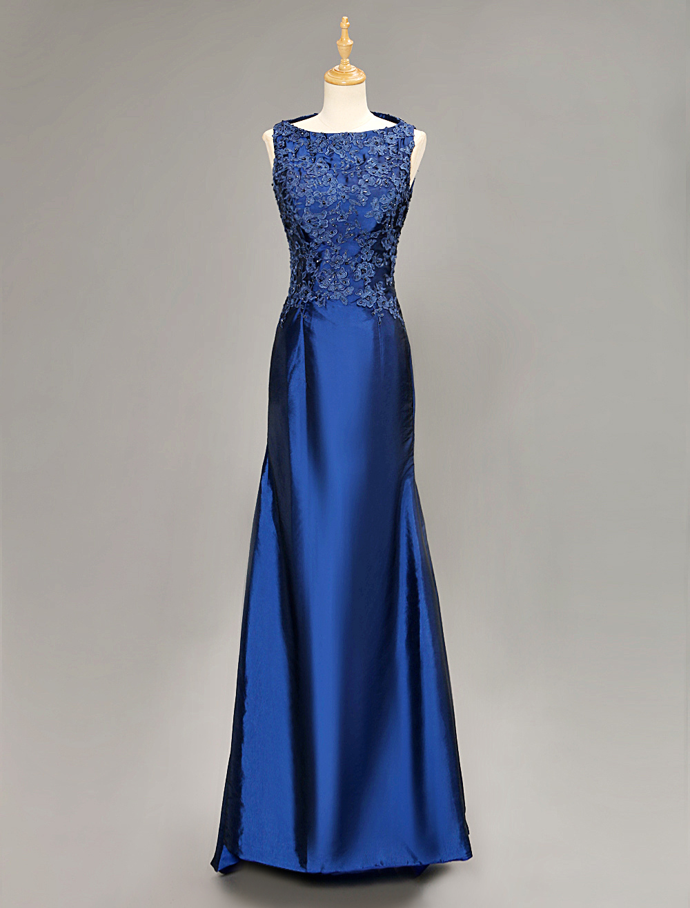 Royal Blue Taffeta Beading Mother Of Bride Dress With Applique Decor