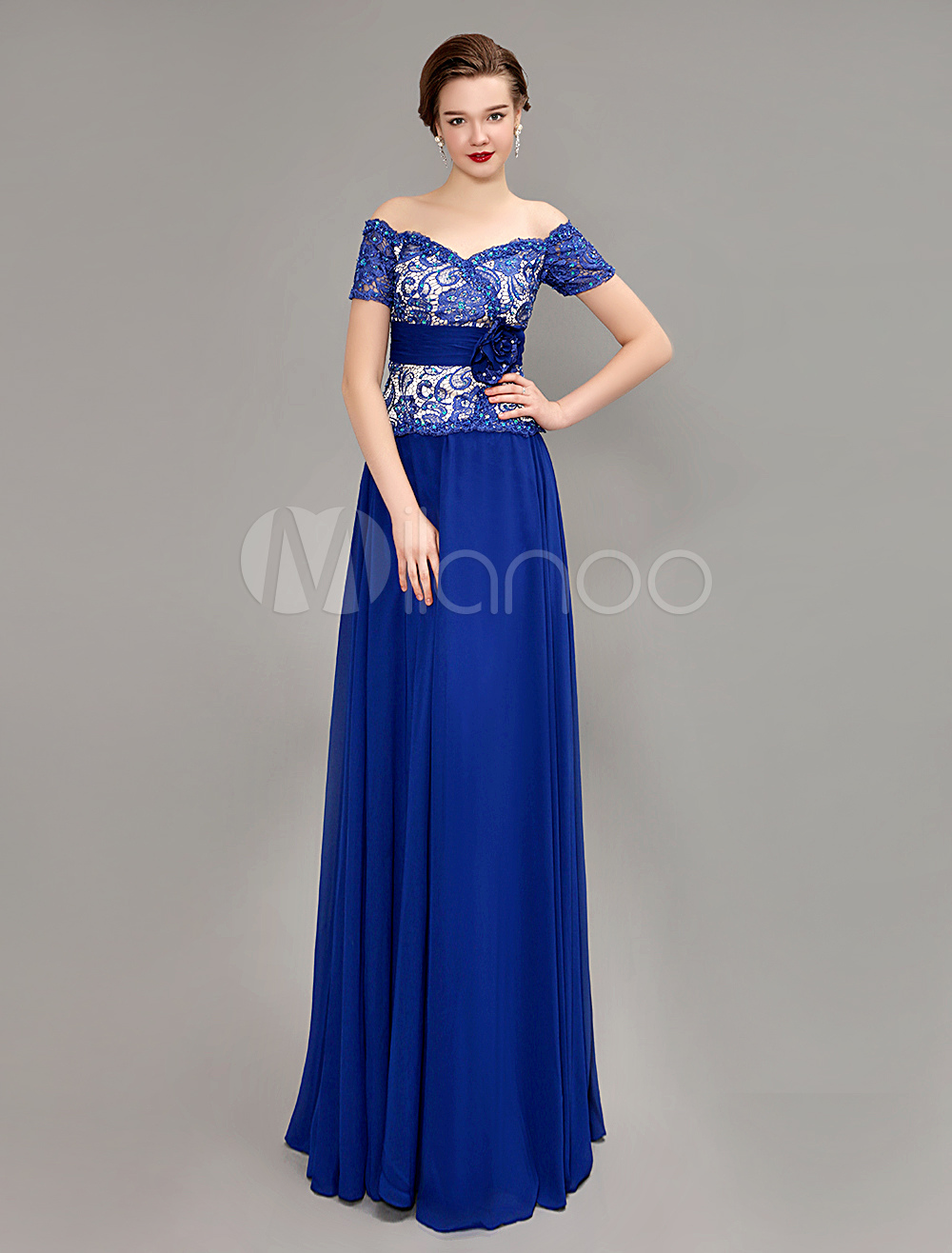 Buy Royal Blue Off the Shoulder Mother Of Bride Dress for $169.99 in Milanoo store