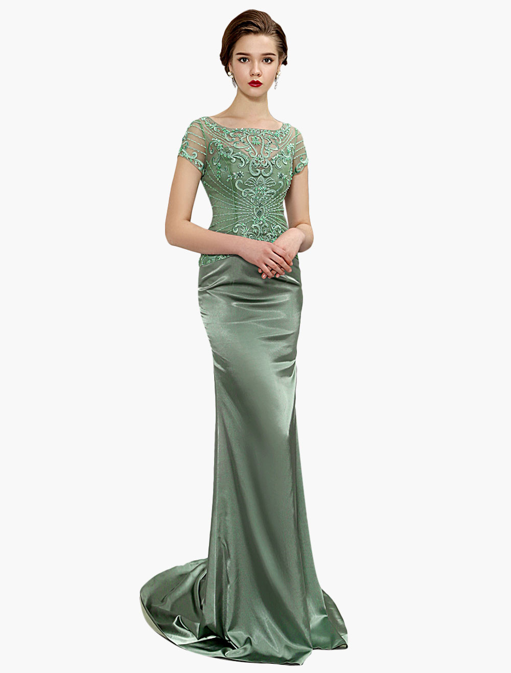 Sage Green Mother Of Bride Dress Mermaid Beading Embroidered Illusion Back Wedding Party Dress With Train