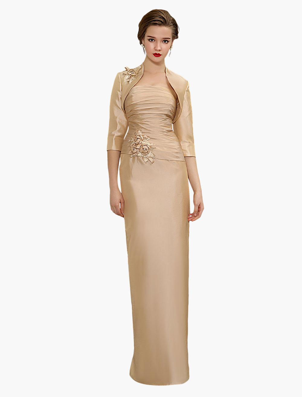 Champagne Taffeta Pleated Floor Length Mother of Bride Dress with Jacket