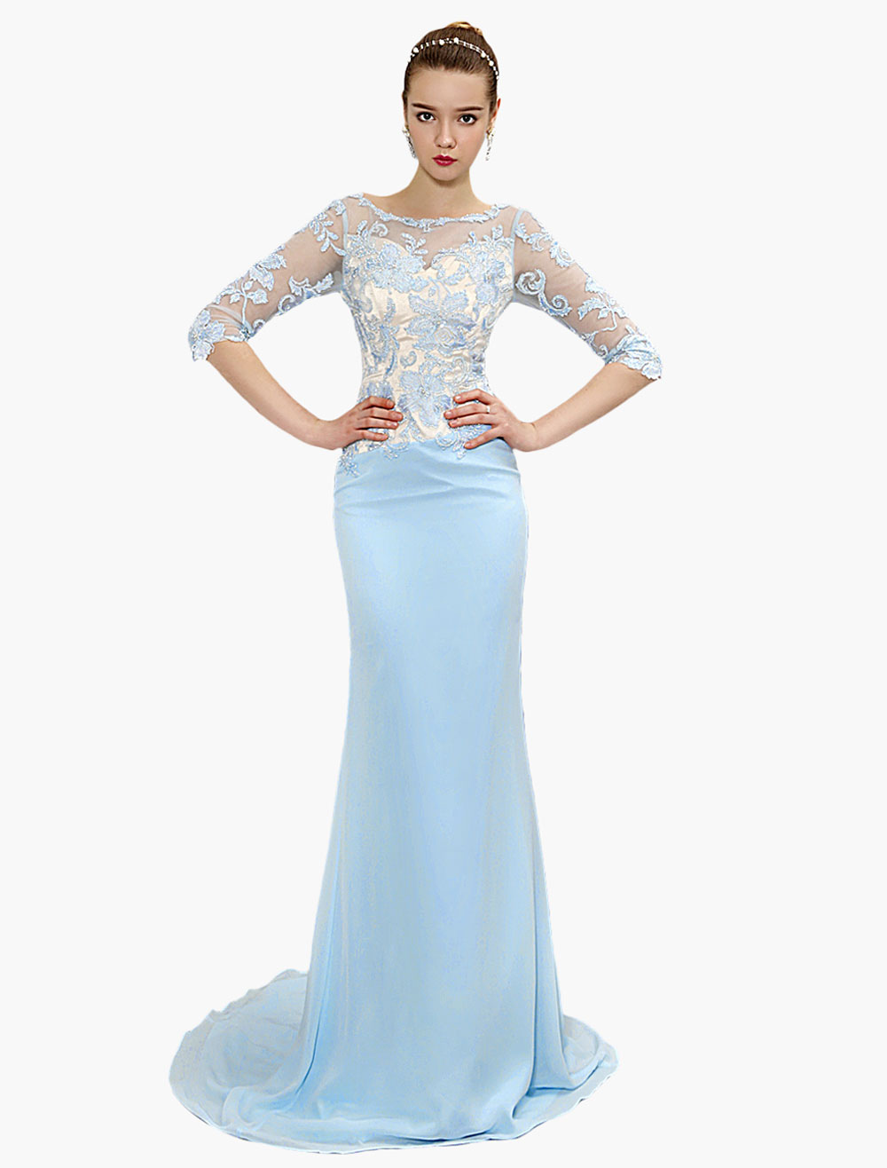 Pastel Blue Evening Dress Mermaid Backless Party Dress Illusion Neck Embroidered Chiffon Prom Dress With Train