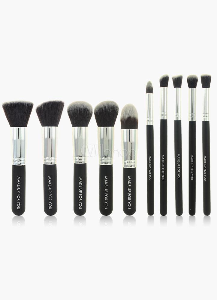 Milanoo / 10 Pcs Black Mink Hair Make Up Brush Set
